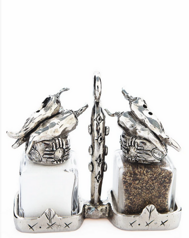"""Chili Peppers"" Handmade Salt and Pepper Shakers with Holder"