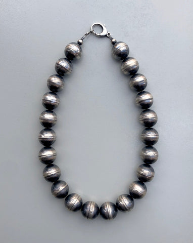 Silver Handmade Navajo Bead Necklace