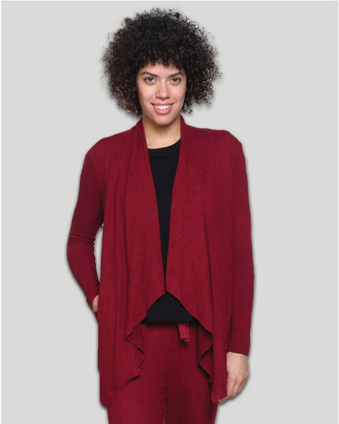 Soft Knit, Draped Cardigan in Red or Grey