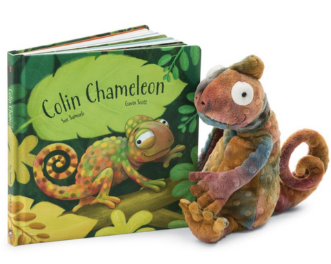 """Colin Chameleon"" Book with Colin Chameleon Jellycat"