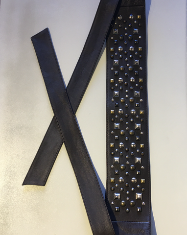 French Leather Belt with Studs