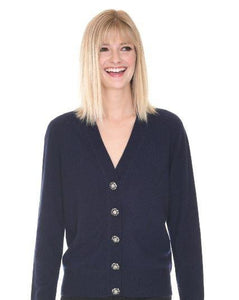 Luxurious Black Cashmere Cardigan with Stunning Buttons