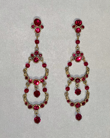 Yolanta Collection, Red Swarovsky Crystal, Chandelier Earrings