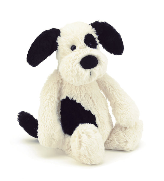 Bashful Black & Cream Puppy Stuffed Animal