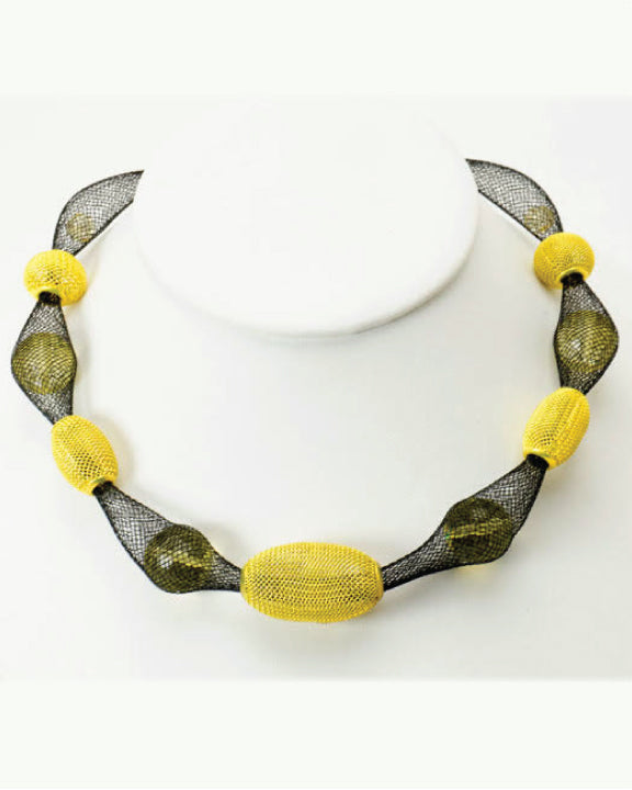 Black & Yellow Mesh Necklace