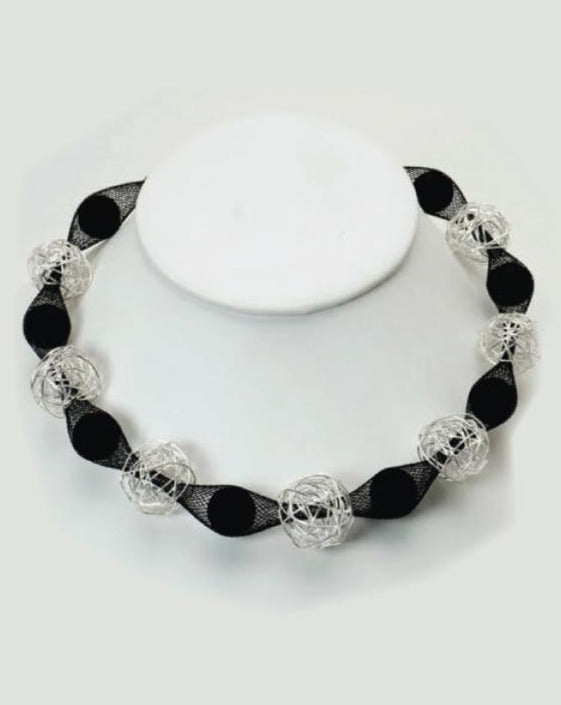Black and Silver Wire Balls Mesh Necklace