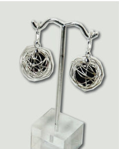 Black and Silver Wire Balls Earrings