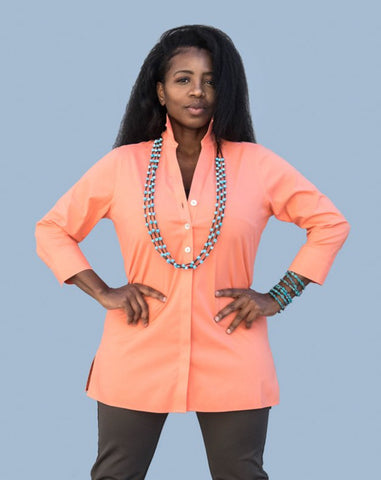 Foxcroft Cotton Shirt in Coral or Lime