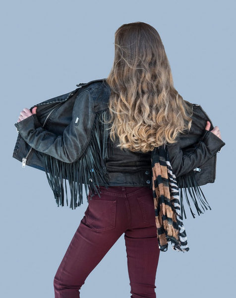 Leather Jacket with Fringe