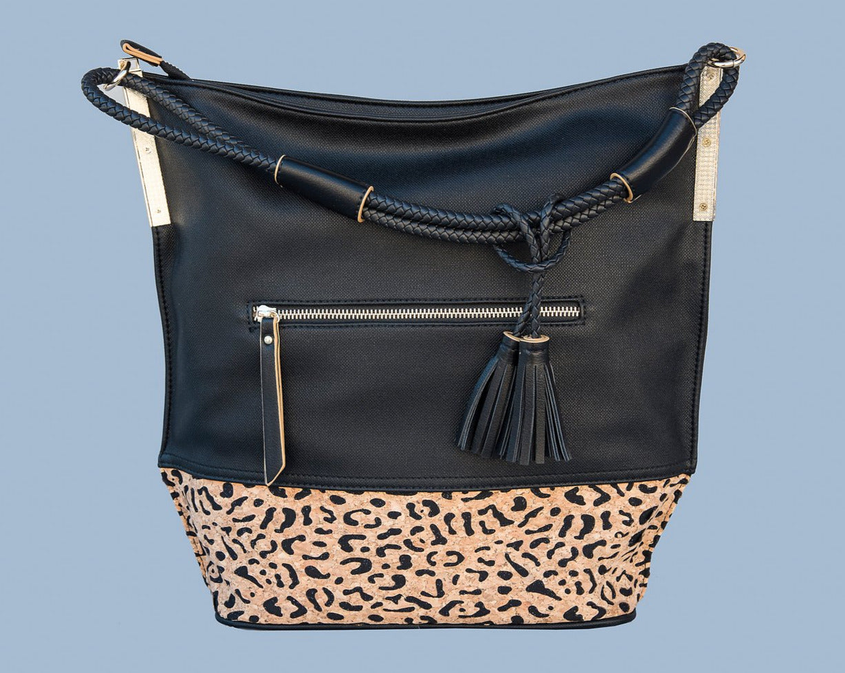 Tall, Black Tote with Leopard Cork Accent