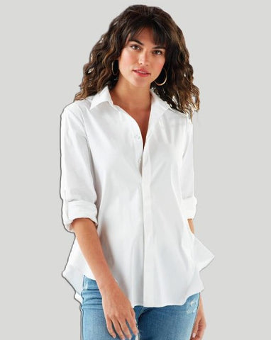 White, Flared Hem Shirt