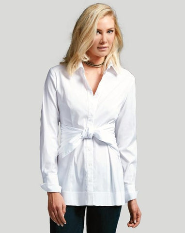 White, Tie Front Shirt