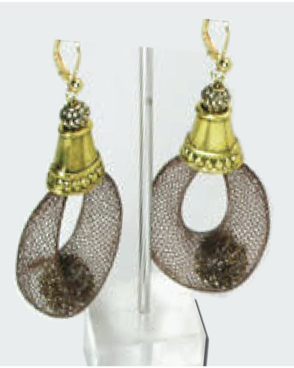 Gold & Silver With Black Mesh Earrings