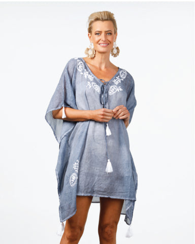Cotton Kaftan in Sky Blue