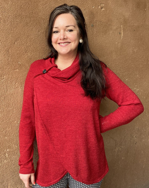 French Ruby Sweater with Cowl Neck