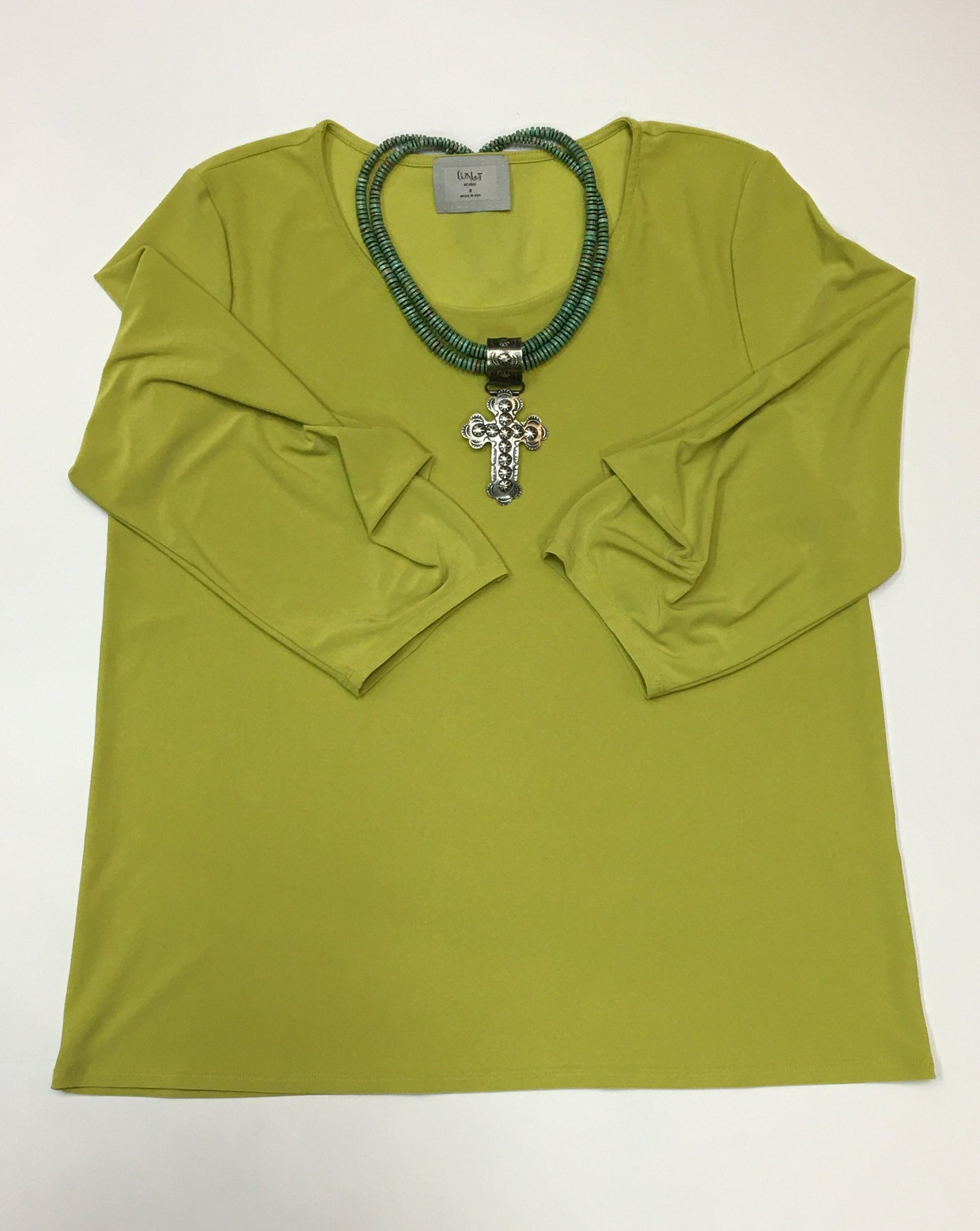 Citron Top with Ruched Cuffs