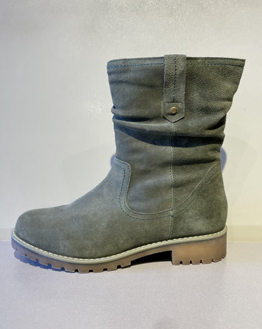 Suede, Sage Green, Low Top Boot