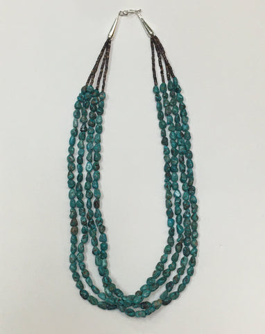 Multi-Strand, Polished Turquoise Necklace