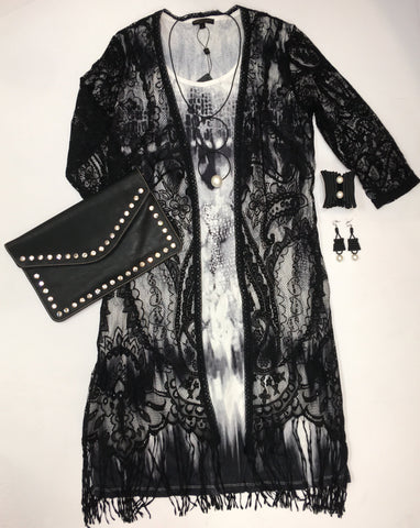 Sleeveless Tie Dye Dress with Black Lace Jacket