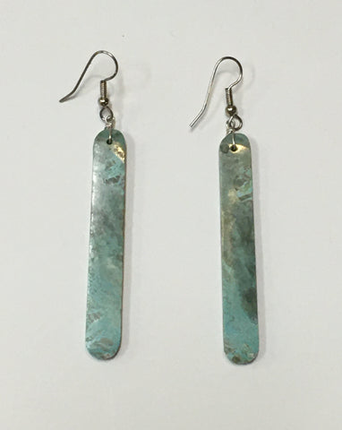 Handmade, Turquoise Slab Earrings