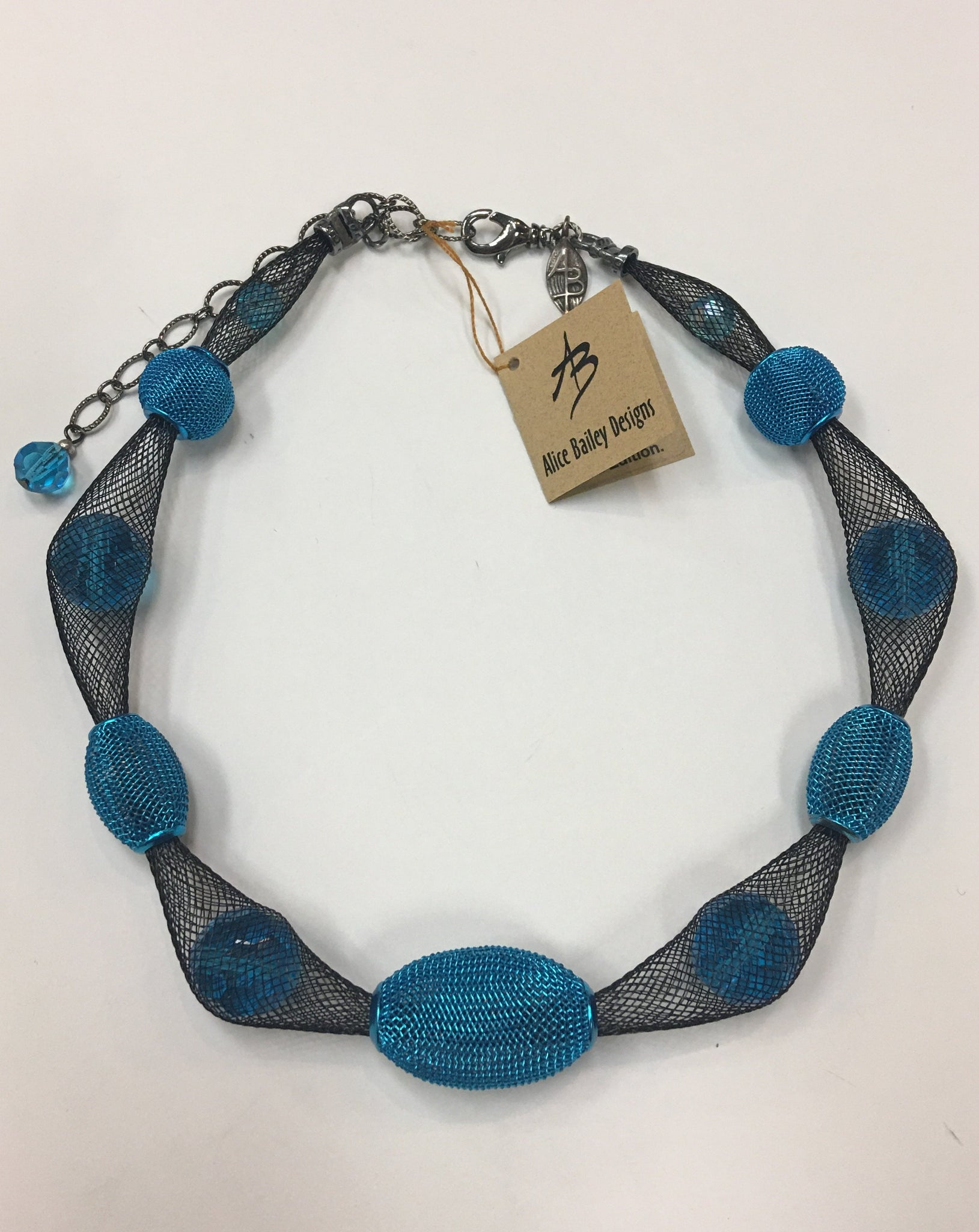Turquoise Mesh, Crystal and Nylon Necklace