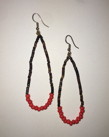 Hand Beaded Oyster Shell and Orange Beads Earrings