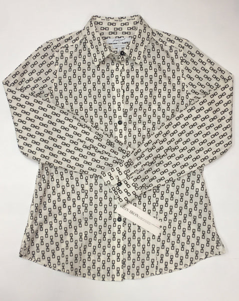 Foxcroft, No Iron, White with Black Links Button Up Shirt
