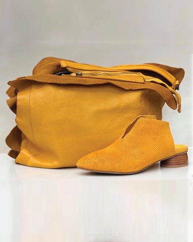 Italian Leather Purse in Mustard