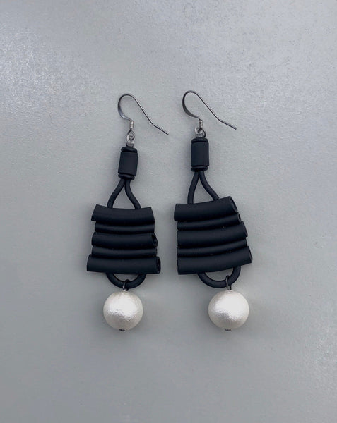 Black Licorice Earrings With Faux Pearls