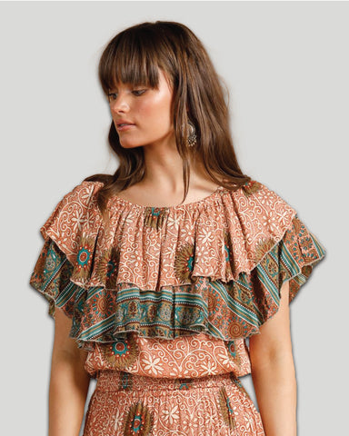 Peasant Blouse in Desert Print