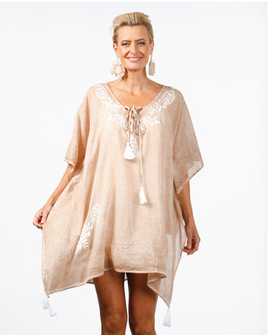 Cotton Kaftan in Light Cinnamon
