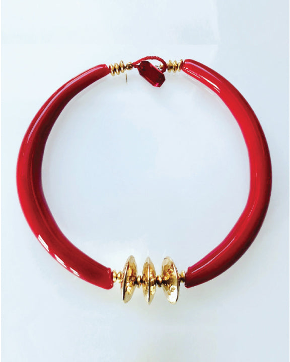 Red and Gold Jane Hruska Necklace