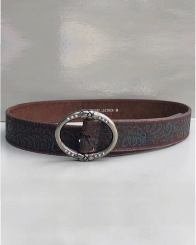 Rubbed Turquoise Leather Belt