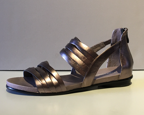 Metallic Flat Sandal with Zipper