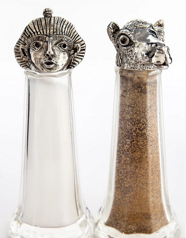 """Pharaoh and Camel"" Handmade Salt and Pepper Shakers"