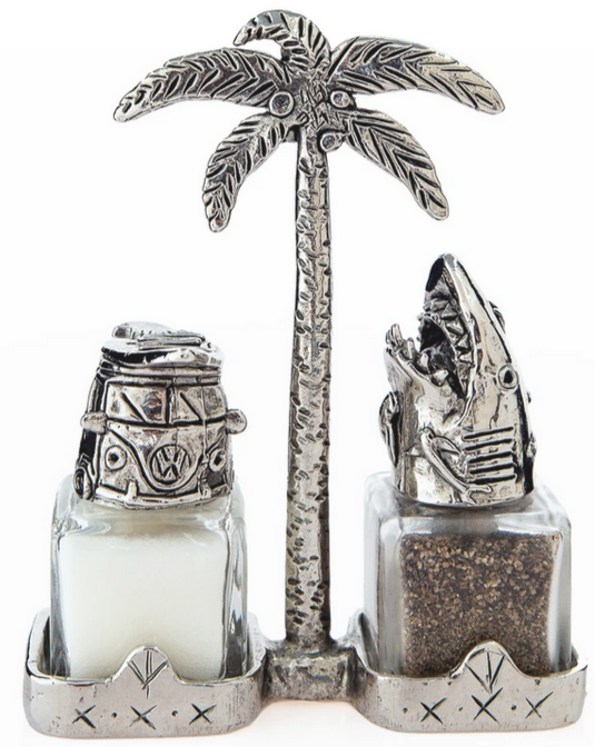 """California Dreaming"" Handmade Salt and Pepper Shakers with Holder"