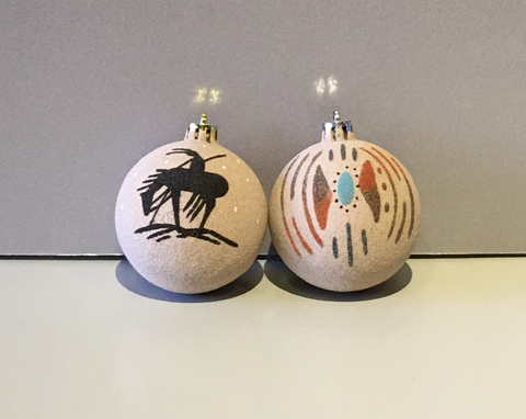 Native American Sand Painted Christmas Ornaments