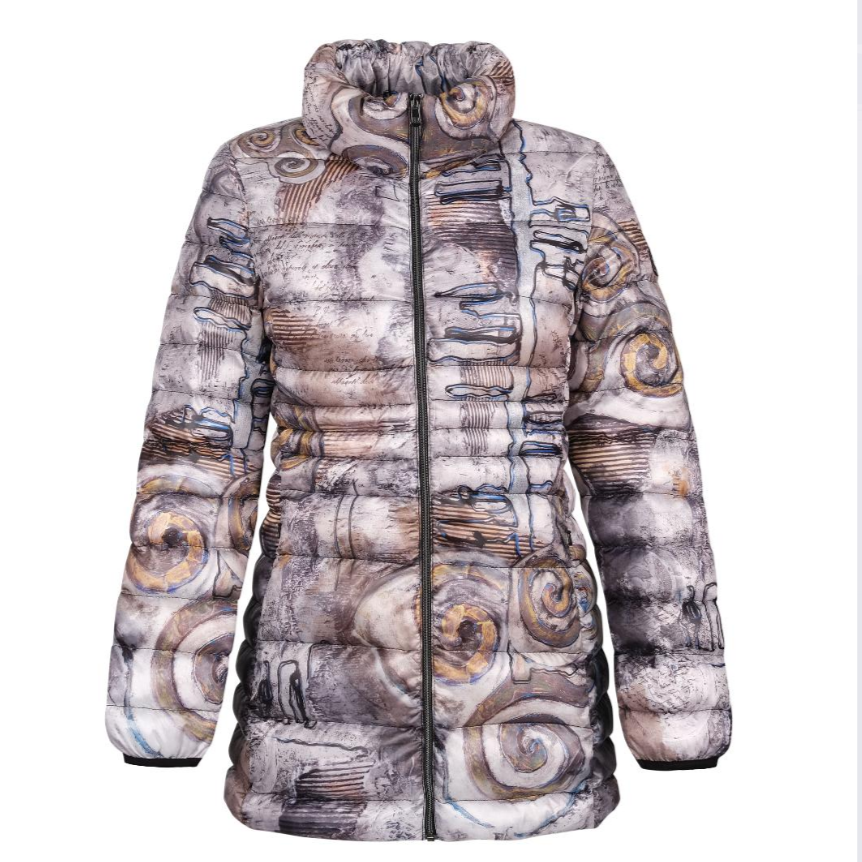 Printed Puffer Jacket, Print Designed by World Renouned Artist