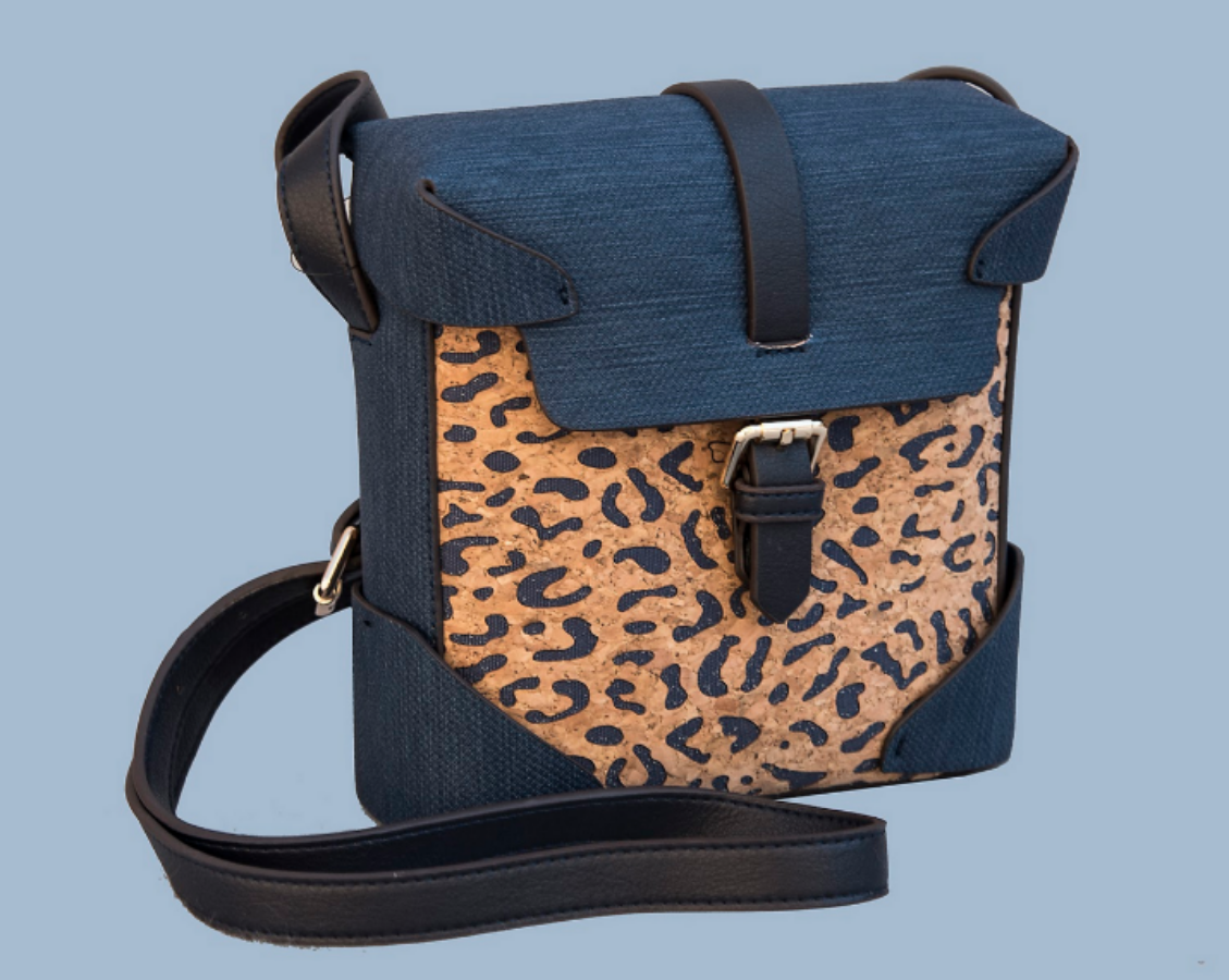 """Binocular Case"" Navy Purse with Cork Leopard Accent"