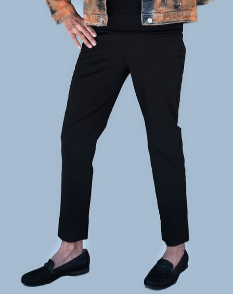 Equestrian Black Pants with Slit on Back