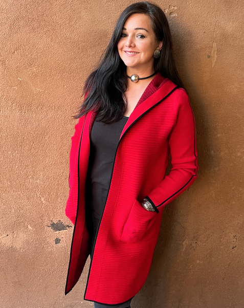 Cashmere and Wool, Long, Red, Hooded Jacket