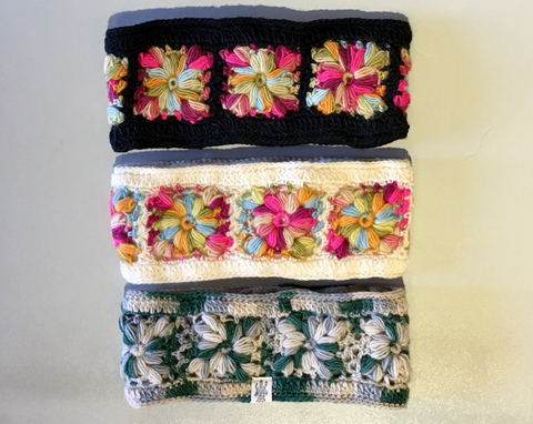 Hand Crocheted Flower Headband, Multiple Colors
