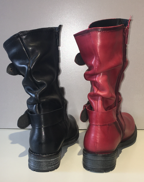 """Noelle"" Strappy, Mid-Calf Boot in Red or Black"