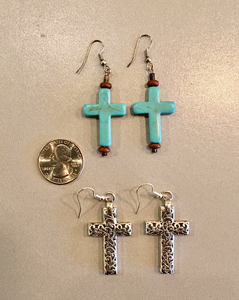 Cross Earrings in Turquoise or Silver Toned