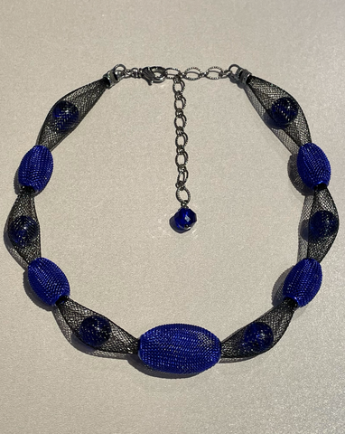 Cobalt Blue and Black Mesh Necklace