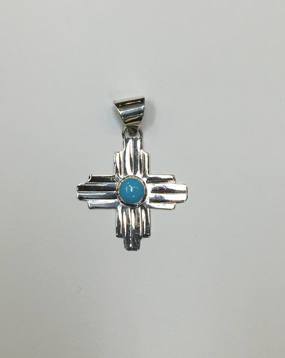 Sterling Silver Zia Pendant with Turquoise Accent, Medium Size