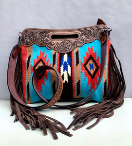 Southwestern Bag with Handcarved Leather and Fringe