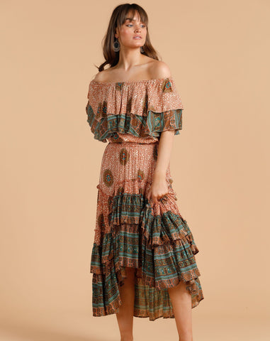 Desert Print Tiered Skirt