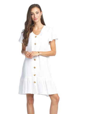 Cotton Blend, Short Sleeve, Button Front Dress
