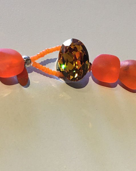 Vintage, Orange, Beaded Necklace